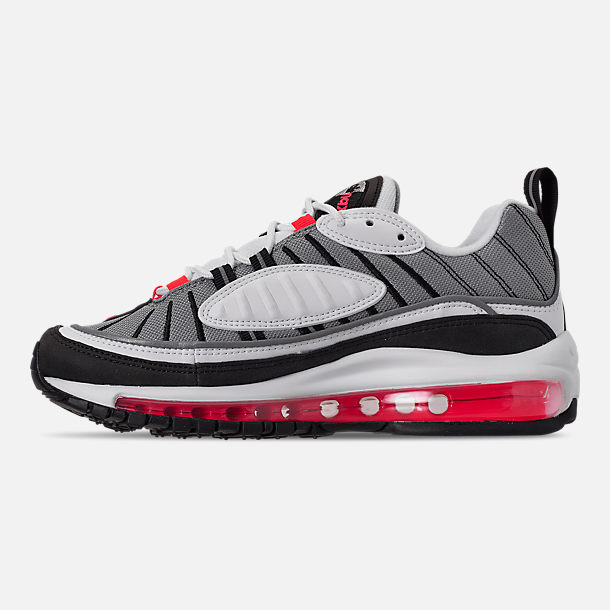 Left view of Women's Nike Air Max 98 Casual Shoes in White/Solar Red/Dust Reflect Silver