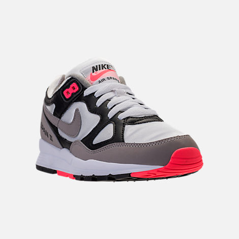 Three Quarter view of Women's Nike Air Span II Casual Shoes in Black/Dust/Solar Red