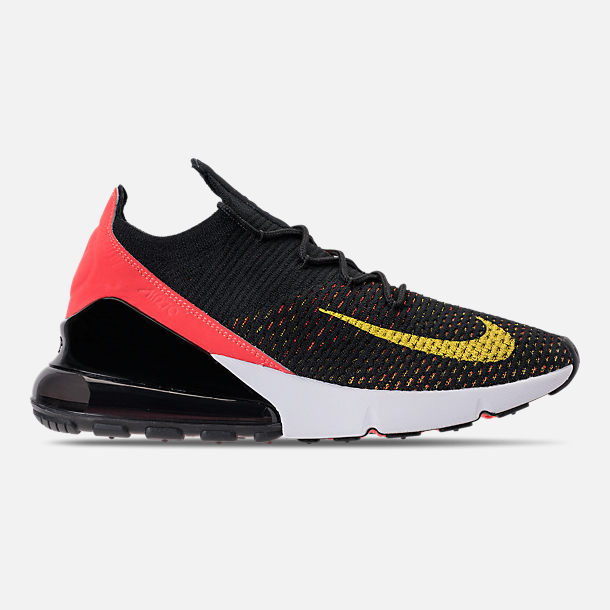 Right view of Women s Nike Air Max 270 Flyknit Casual Shoes in Black Yellow  Strike 92ee4f624