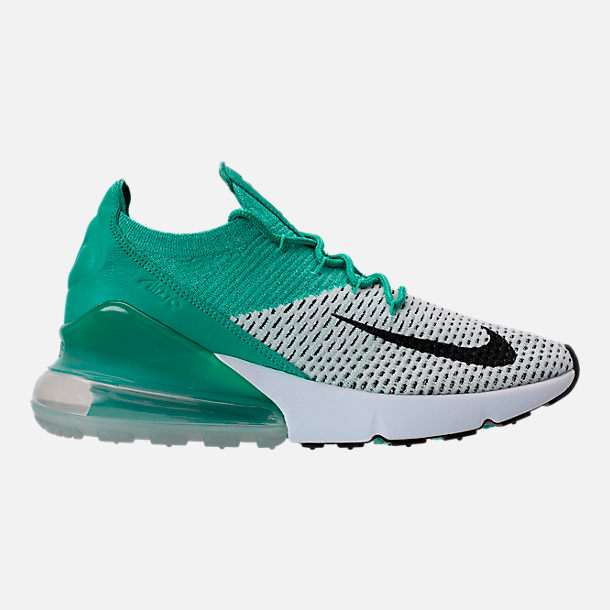 Right view of Women's Nike Air Max 270 Flyknit Casual Shoes in Clear Emerald/Black