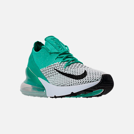 Three Quarter view of Women's Nike Air Max 270 Flyknit Casual Shoes in Clear Emerald/Black/Pure Platinum