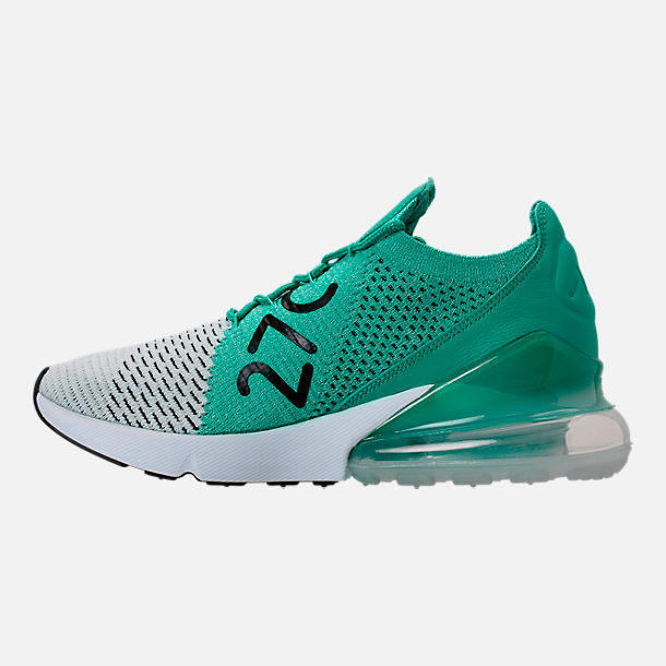Left view of Women's Nike Air Max 270 Flyknit Casual Shoes in Clear Emerald/Black/Pure Platinum