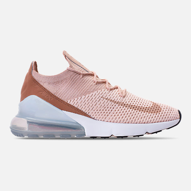 Right view of Women's Nike Air Max 270 Flyknit Casual Shoes in Guava Ice/Part Beige/Desert Dust