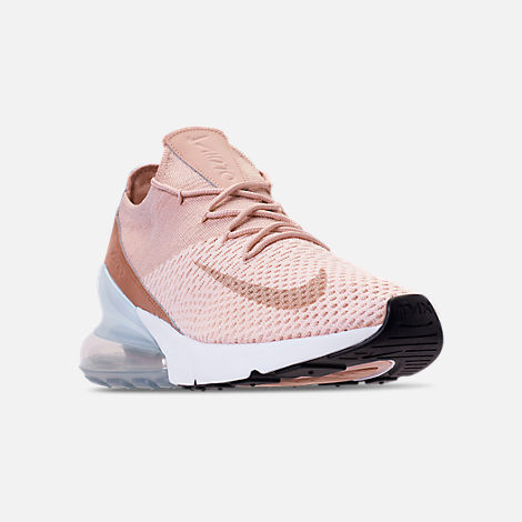 Three Quarter view of Women's Nike Air Max 270 Flyknit Casual Shoes in Guava Ice/Part Beige/Desert Dust