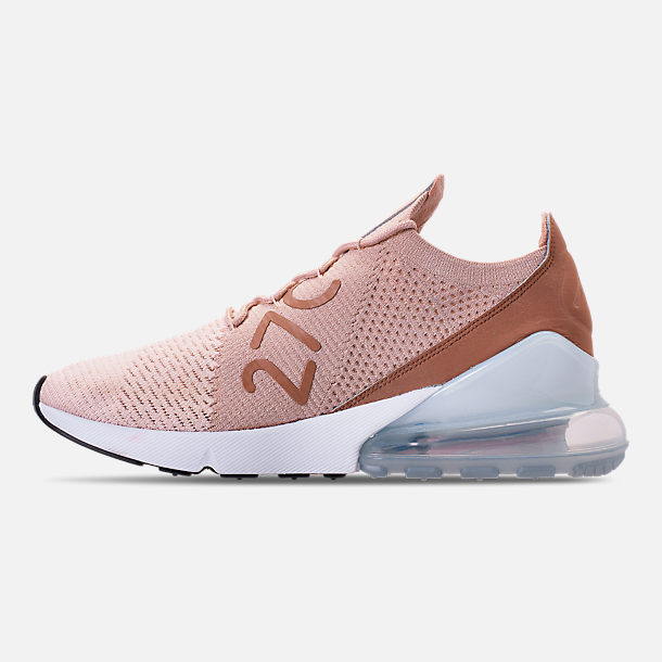 Left view of Women's Nike Air Max 270 Flyknit Casual Shoes in Guava Ice/Part Beige/Desert Dust