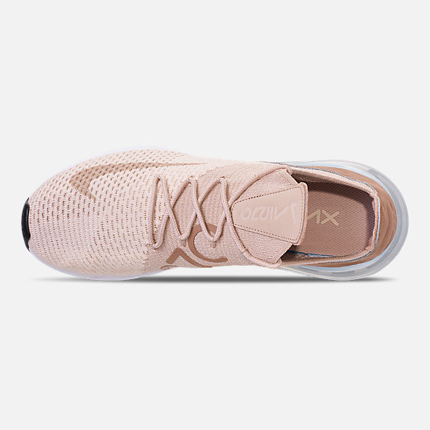 Top view of Women's Nike Air Max 270 Flyknit Casual Shoes in Guava Ice/Part Beige/Desert Dust