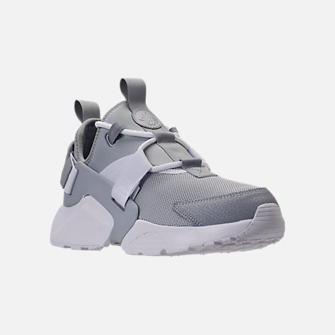 Three Quarter view of Women's Nike Air Huarache City Low Casual Shoes in Wolf Grey/Wolf Grey/White