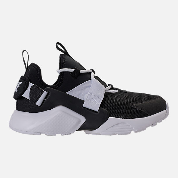 Right view of Women's Nike Air Huarache City Low Casual Shoes in Black/Black/White