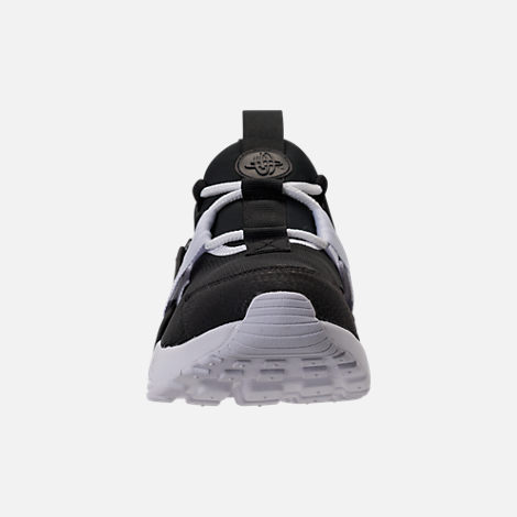 Front view of Women's Nike Air Huarache City Low Casual Shoes in Black/Black/White