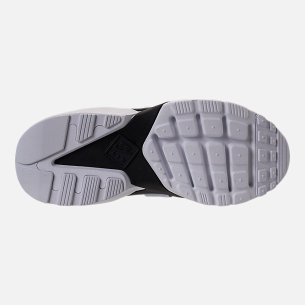 Bottom view of Women's Nike Air Huarache City Low Casual Shoes in Black/Black/White