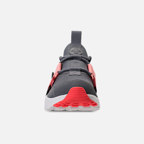 Front view of Women's Nike Air Huarache City Low Casual Shoes in Cool Grey/Summit White/Oracle Pink