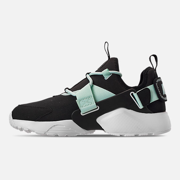 Left view of Women's Nike Air Huarache City Low Casual Shoes in Black/Igloo/White