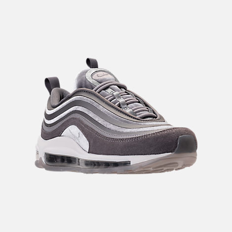Three Quarter view of Women's Nike Air Max 97 Ultra Lux Casual Shoes in Atmosphere Grey/Summit White