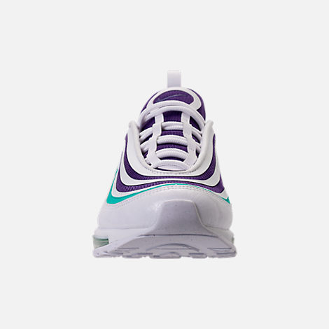 Front view of Women's Nike Air Max 97 Ultra 2017 SE Casual Shoes in White/Court Purple/Emerald Green