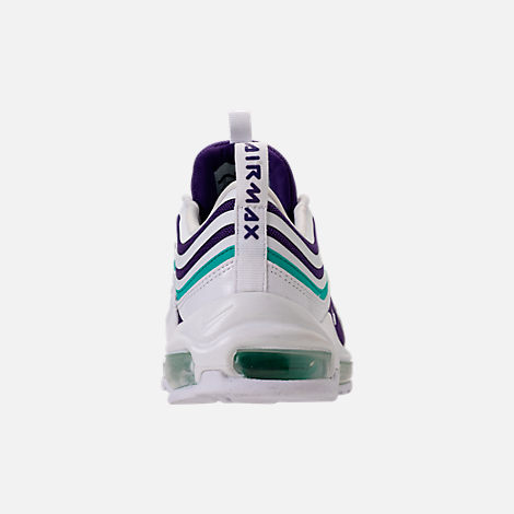 Back view of Women's Nike Air Max 97 Ultra 2017 SE Casual Shoes in White/Court Purple/Emerald Green
