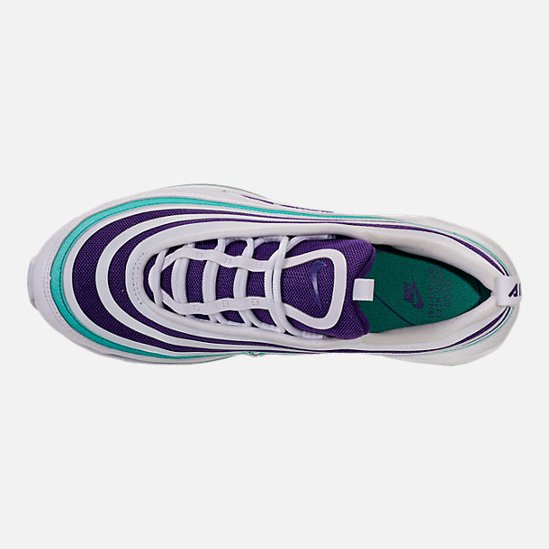 Top view of Women's Nike Air Max 97 Ultra 2017 SE Casual Shoes in White/Court Purple/Emerald Green