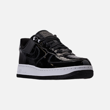 Three Quarter view of Women's Nike Air Force 1 '07 SE Premium Casual Shoes in Black/Reflective Silver