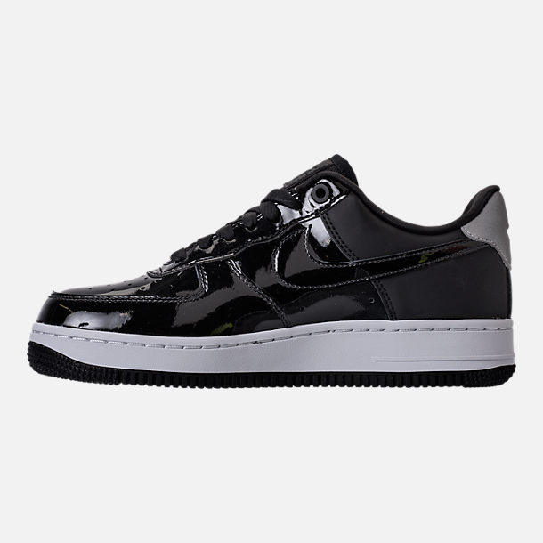 Left view of Women's Nike Air Force 1 '07 SE Premium Casual Shoes in Black/Reflective Silver