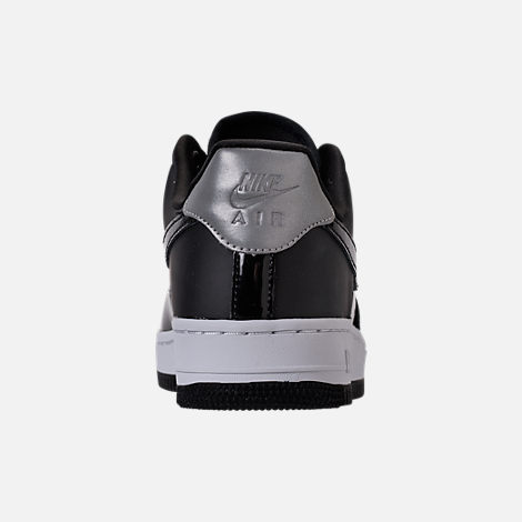 Back view of Women's Nike Air Force 1 '07 SE Premium Casual Shoes in Black/Reflective Silver