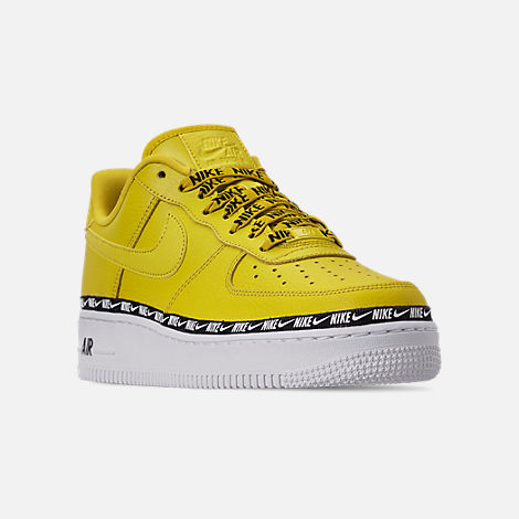Three Quarter view of Women's Nike Air Force 1 '07 SE Premium Casual Shoes in Bright Citron/Black/White