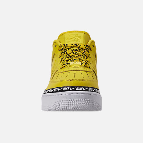 Front view of Women's Nike Air Force 1 '07 SE Premium Casual Shoes in Bright Citron/Black/White