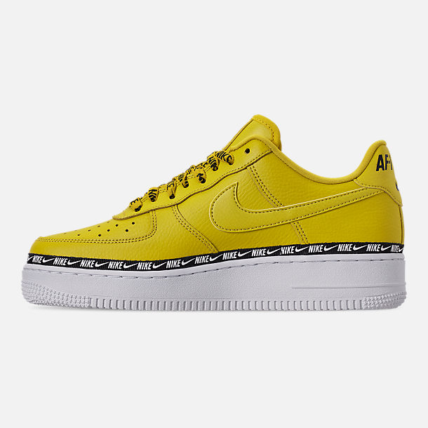 Left view of Women's Nike Air Force 1 '07 SE Premium Casual Shoes in Bright Citron/Black/White