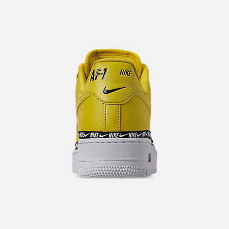 Back view of Women's Nike Air Force 1 '07 SE Premium Casual Shoes in Bright Citron/Black/White