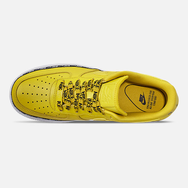 Top view of Women's Nike Air Force 1 '07 SE Premium Casual Shoes in Bright Citron/Black/White