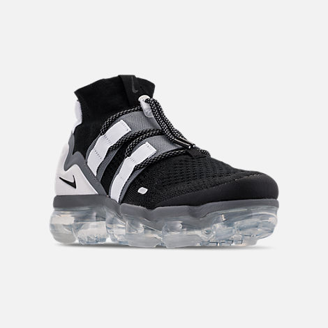 Three Quarter view of Men's Nike Air VaporMax Flyknit Utility Running Shoes in Black/Cool Grey/White/Pure Platinum