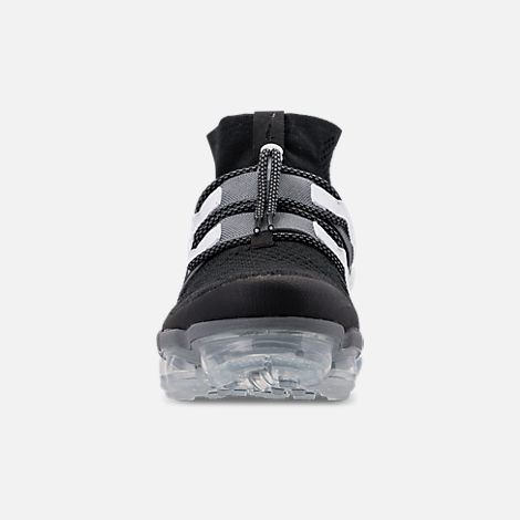 Front view of Men's Nike Air VaporMax Flyknit Utility Running Shoes in Black/Cool Grey/White/Pure Platinum