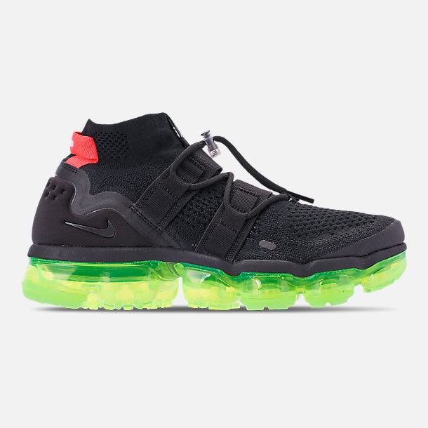 Right view of Men's Nike Air VaporMax Flyknit Utility Running Shoes in Black/Volt/Bright Crimson