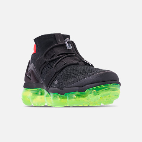 Three Quarter view of Men's Nike Air VaporMax Flyknit Utility Running Shoes in Black/Volt/Bright Crimson