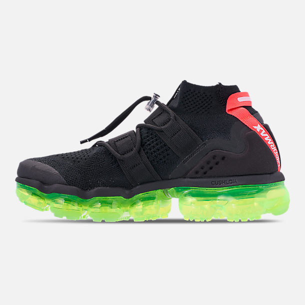 Left view of Men's Nike Air VaporMax Flyknit Utility Running Shoes in Black/Volt/Bright Crimson
