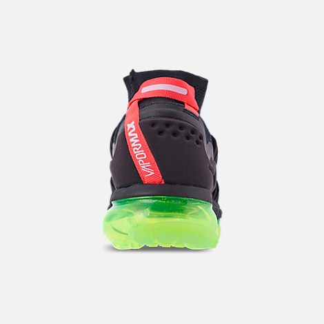 Back view of Men's Nike Air VaporMax Flyknit Utility Running Shoes in Black/Volt/Bright Crimson