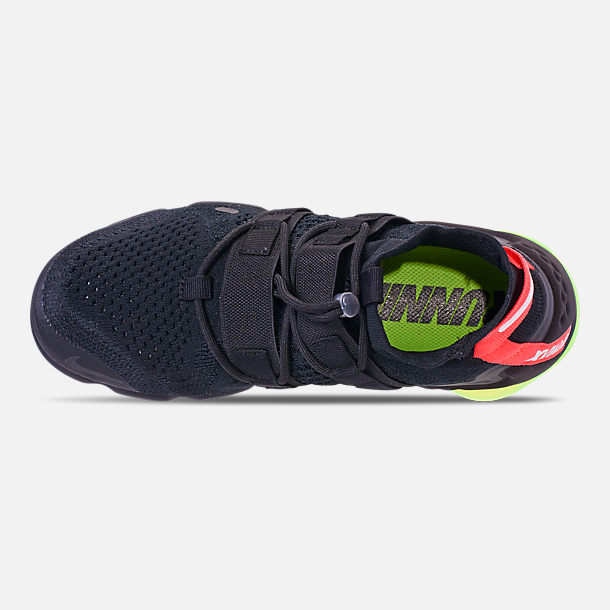Top view of Men's Nike Air VaporMax Flyknit Utility Running Shoes in Black/Volt/Bright Crimson
