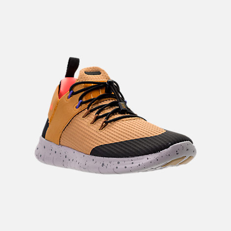Three Quarter view of Women's Nike Free RN Commuter 2017 Utility Running Shoes in Elemental Gold/Burnt Mango/Black