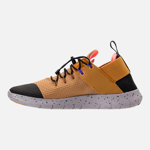 Left view of Women's Nike Free RN Commuter 2017 Utility Running Shoes in Elemental Gold/Burnt Mango/Black