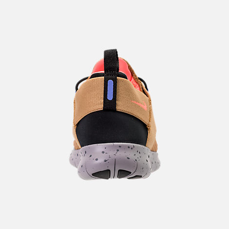 Back view of Women's Nike Free RN Commuter 2017 Utility Running Shoes in Elemental Gold/Burnt Mango/Black