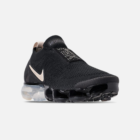Three Quarter view of Boys' Big Kids' Nike Air VaporMax Flyknit MOC Running Shoes in Black/Light Cream/White/Thunder Grey