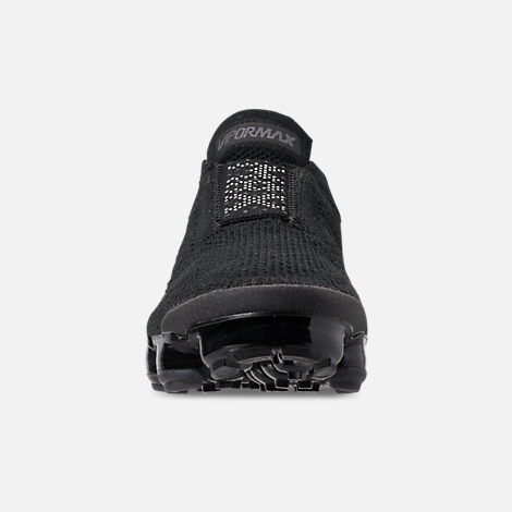 Front view of Boys' Big Kids' Nike Air VaporMax Flyknit MOC Running Shoes in Black/Light Cream/White/Thunder Grey