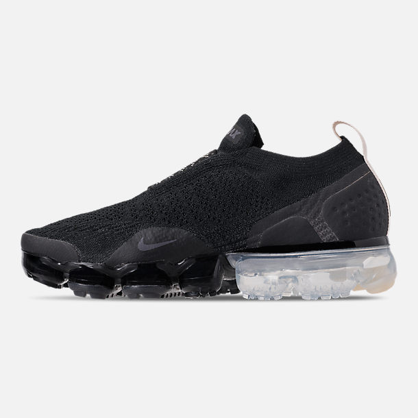 Left view of Boys' Big Kids' Nike Air VaporMax Flyknit MOC Running Shoes in Black/Light Cream/White/Thunder Grey