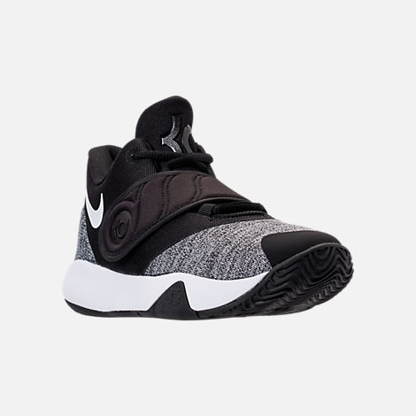 Three Quarter view of Boys' Big Kids' Nike KD Trey 5 VI Basketball Shoes in Black/White/Black