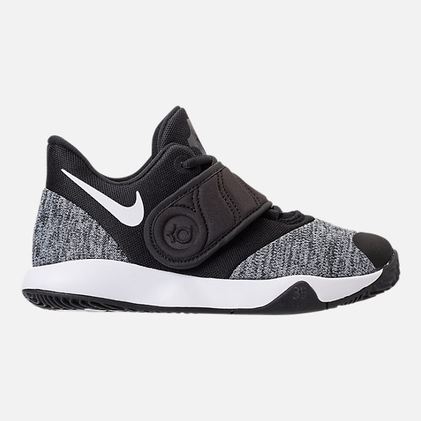 Right view of Boys' Little Kids' Nike KD Trey 5 VI Basketball Shoes in Black/White/Black