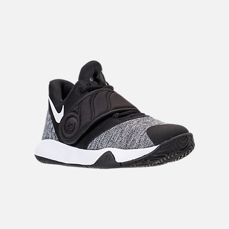 Three Quarter view of Boys' Preschool Nike KD Trey 5 VI Basketball Shoes in Black/White/Black