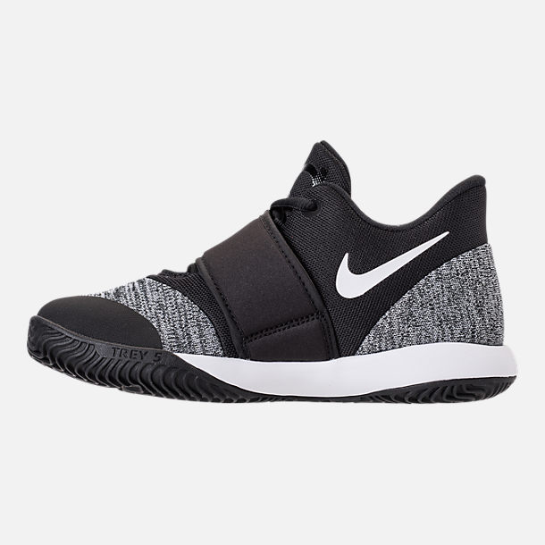 Left view of Boys' Little Kids' Nike KD Trey 5 VI Basketball Shoes in Black/White/Black