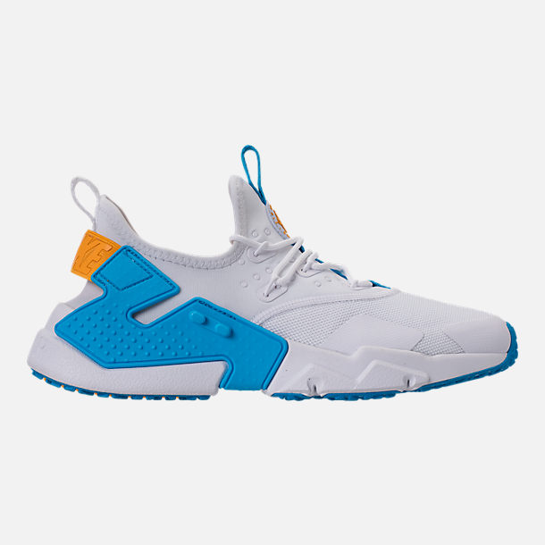 Right view of Men's Nike Air Huarache Run Drift Casual Shoes in White/Equator Blue/University Gold