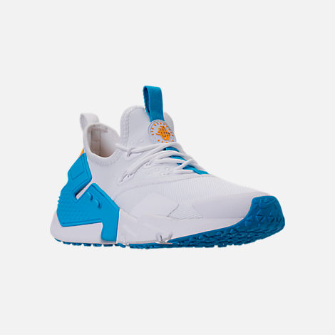 Three Quarter view of Men's Nike Air Huarache Run Drift Casual Shoes in White/Equator Blue/University Gold