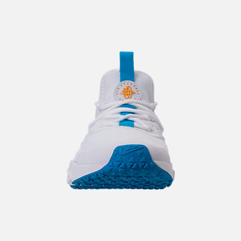 Front view of Men's Nike Air Huarache Run Drift Casual Shoes in White/Equator Blue/University Gold