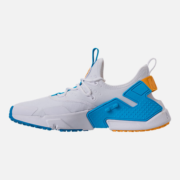 Left view of Men's Nike Air Huarache Run Drift Casual Shoes in White/Equator Blue/University Gold
