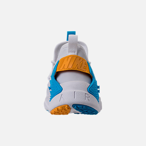 Back view of Men's Nike Air Huarache Run Drift Casual Shoes in White/Equator Blue/University Gold